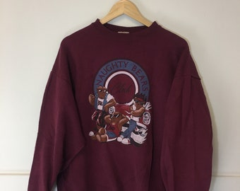 Vintage 90 s Retro Naughty bears club longsleeve sweater 0e3811252