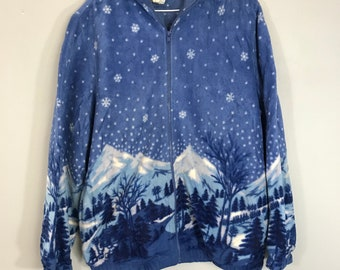 0e83c13fa75 Vintage 90 s Retro Outdoors Winter full graphic soft fleece sweater jacket