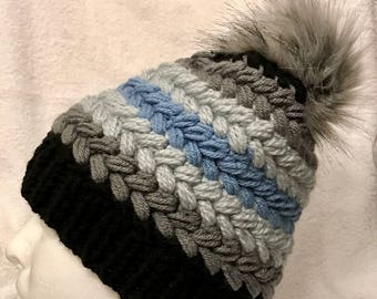 Grey and Blue Knitted Hat