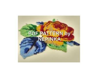Golden Rose Beadwork PATTERN.Pdf pattern.Brick Stitch.Bead Weaving.Jewelry.Yellow rose.Flower necklace.Bib necklace.Statement necklace