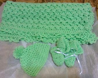 Handmade Baby Blanket, Booties, Hat