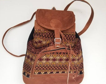 Geometric Embroidery Huipil Fabric Backpack Multicolor Carry On Embroidered  Backpack Black Backpack Suede Bag Brown Beige Backpack Multicolo eb1061e4f7f90