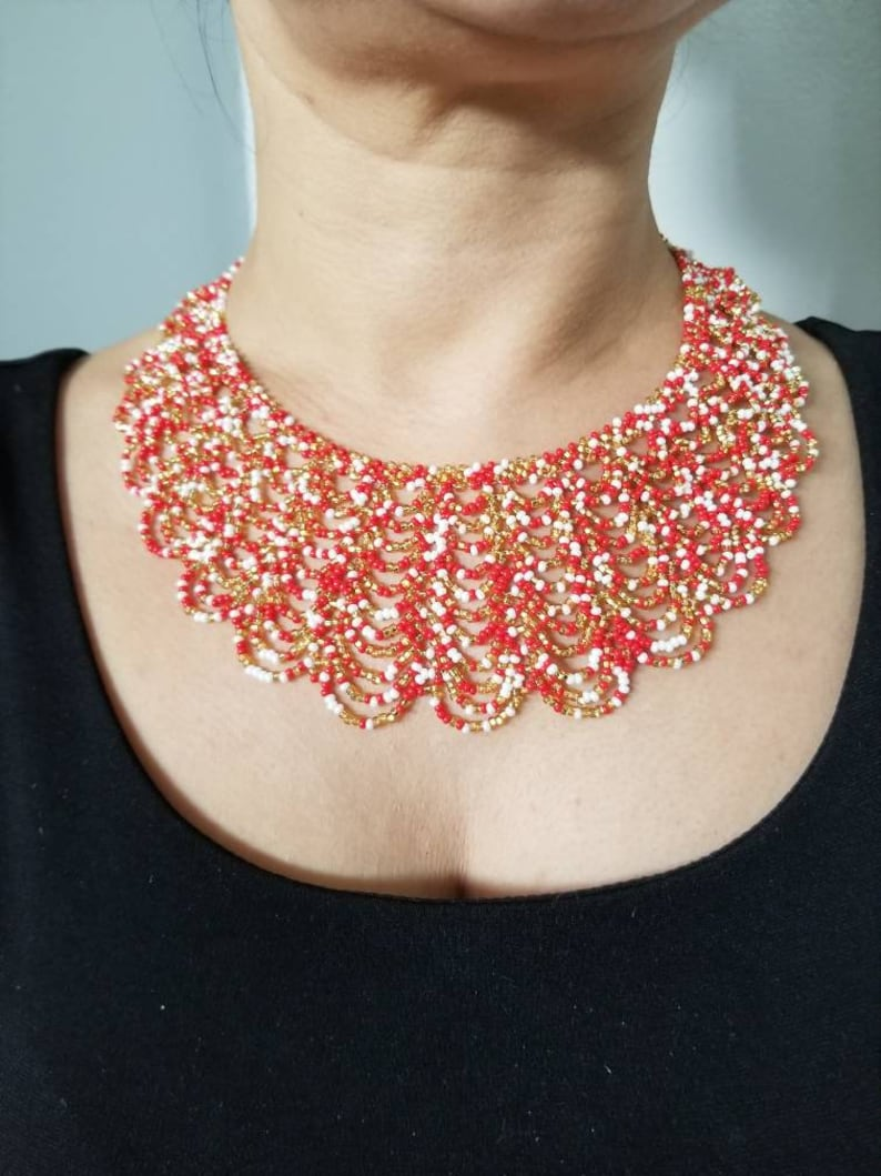 Red and White Beaded Necklace Red and Gold Choker Bib Necklace Christmas Necklace Red White short necklace Gold and red choker white and red