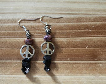 Wire Peace Sign Earrings