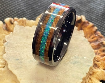 Black Ceramic Ring with Bourbon Barrel and Turquoise Opal Inlay- Ring, Mens, Wedding Band, Anniversary, Gift, Inlay, Honeymoon, Antler