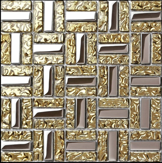 Electroplated Silver Yellow Gold Glass Mosaic Kitchen Tile Etsy