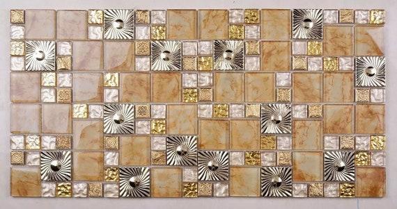 Gold Yellow Glass Mosaic Kitchen Tile Backsplash Ssmt408 Etsy