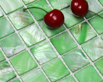 Dying Green Mother of pearl shell mosaic kitchen backsplash MOP050 mother of pearl freshwater shell bathroom wall  tiles