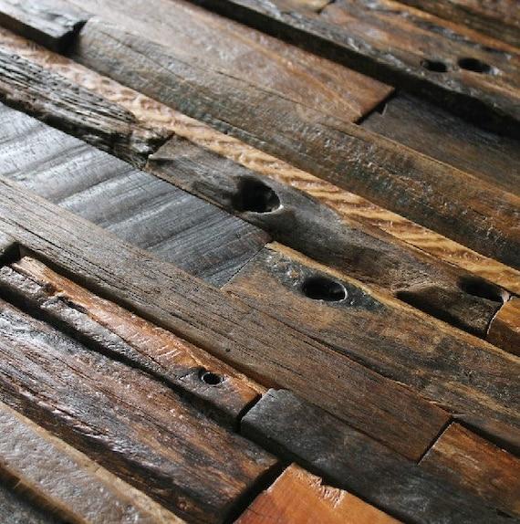 Natural Wood Mosaic Tile Ancient Boat Rustic Wood Wall Tiles Etsy