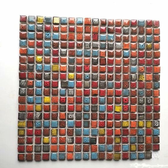 Red Blue Yellow Porcelain Ceramic Mosaic Tile Backsplash Etsy