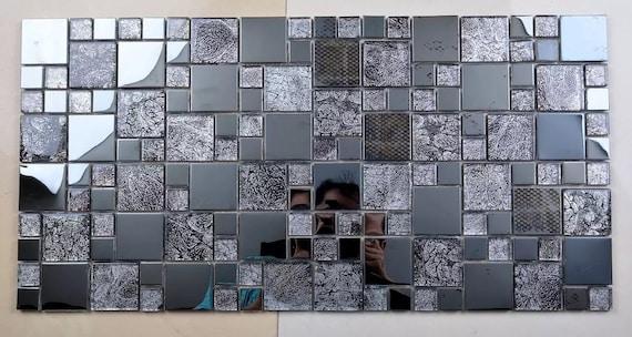 Gray Glass Metal Mosaic Kitchen Backsplash Tile Ssmt406 Etsy