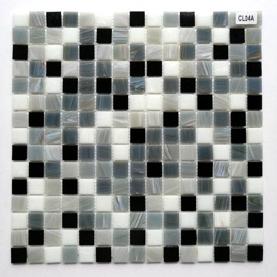 Stained Gray Black White Glass Mosaic Backsplash Tile Cgmt018 Etsy