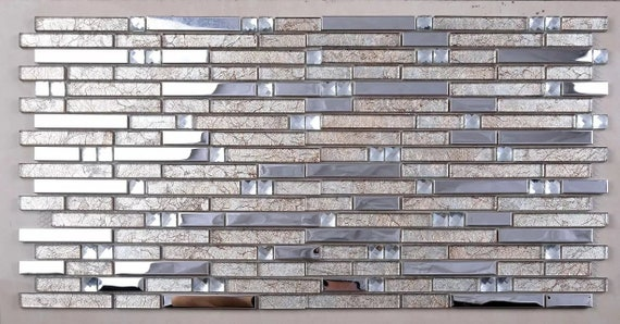 Yellow Beige Glass Mosaic Tile Backsplash Ssmt404 Silver Metal Etsy