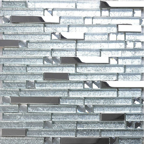 Crystal Glass Mosaic Tile Kitchen Backsplash Silver Metal Etsy