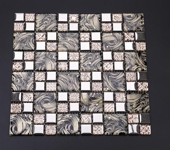 Electroplated Silver Rose Gold Glass Mosaic Backsplash Tile Etsy