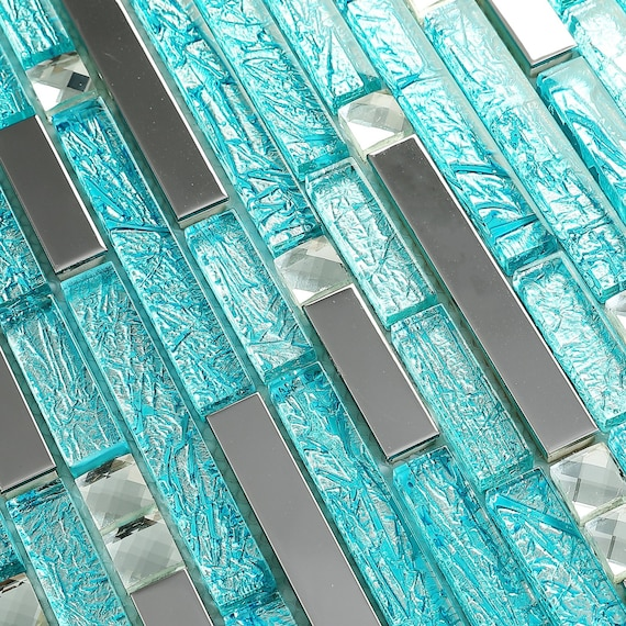 Blue Glass Mosaic Silver Metal Kitchen Backsplash Wall Tile Etsy