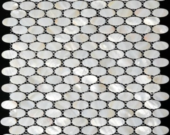 White Ellipse Mother of pearl tile for kitchen backsplash MOP002 natural pearl shell mosaic bathroom wall tiles oval mother of pearl tile