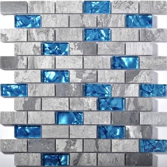 Gray Stone Blue Glass Mosaic Tile Kitchen Backsplash Sgmt602 Etsy