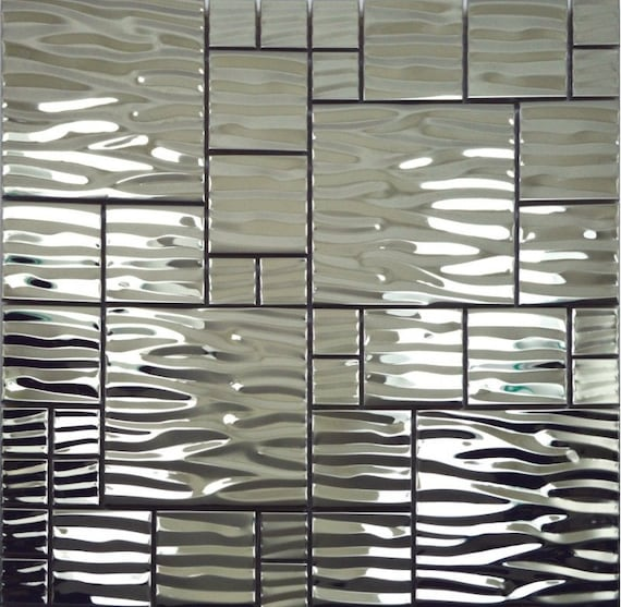 Silver Metal Mosaic Stainless Steel Kitchen Wall Tile Etsy