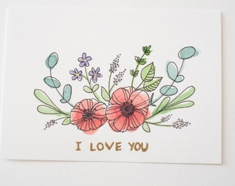 "Greeting card ""I love you"" anemones"