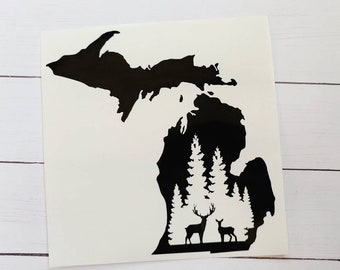 Michigan Forest Car Decal / Deer Decal / Michigan Outdoors / Pure Michigan Sticker / Laptop Sticker / Tumbler Decal / Michigan Hunting Decal