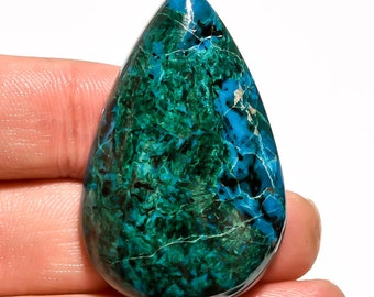 Blue Chrysocolla Gemstone, Natural Chrysocolla Pear shape top quality polished pandant size loose cabochon Gemscentre C10103