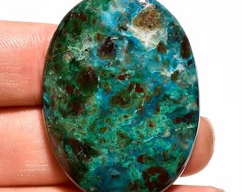 Blue Chrysocolla Gemstone, Natural Chrysocolla oval shape top quality polished pandant size loose cabochon Gemscentre C10093