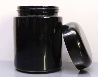Black glass UV 250ml Jar Screw Top Smellproof Airtight Tea Herb Stash Nug 420