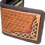 Hand Tooled Men's Leather Wallet With Celtic Design