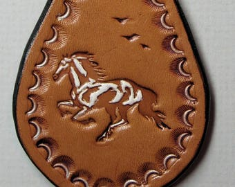 Leather Running Horse Key Chain, Hand Tooled Key Fob