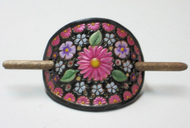 Pink Daisy Leather Hair Barrette image 0