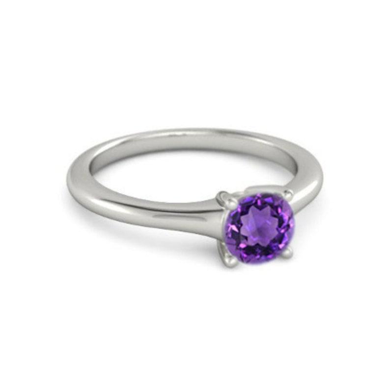 Amethyst Silver Ring Diamond Ring Sterling Silver Anniversary Ring Gemstone Ring Fashion Ring Birthstone Ring Ring For Her Amethyst  Ring