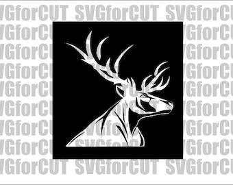 Deer SVG Head Logo Design Decor Emblem DXF PNG Cut Files Cutting Cricut Silhouette Vector Printable Laser Cutter Template