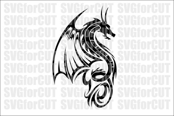 picture relating to Dragon Stencil Printable referred to as Dragon Celtic Silhouette Emblem Vector Cricut SVG Reducing Lovable Document Laser Cutter Printable DXF Template Clipart PNG Plasma Wings Dragon