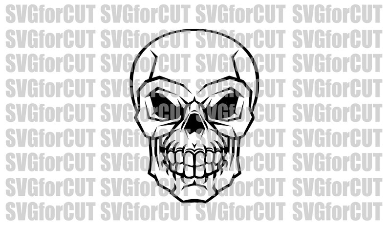 Skull Vector Cutting Svg Clipart Cute File Laser Cutter Dxf Etsy