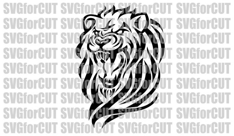 Roaring Lion Logo SVG DXF PNG Head Vector Cricut Cutting Cutter Clipart  Silhouette Templates Plasma File Laser Printable Mascot Digital