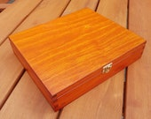 Wooden Box 29x25x6 cm in Light Brown Color, Lockable Latch