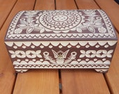 Wooden Jewellery Box 28 cm long lock and key in Brown color