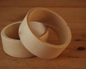 Set 2 Wooden Flat Bangles 3 cm high for decoupage