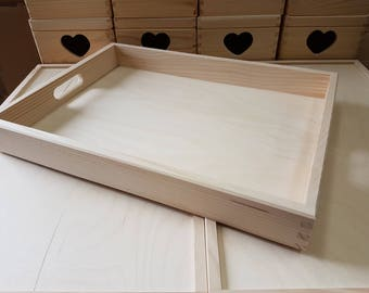 Plain Wood - Wooden Serving Very Extra Large Tray 60cmx40cmx 6cm Decoupage
