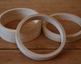 Set 4 Wooden Flat Bangles 1 cm high for decoupage