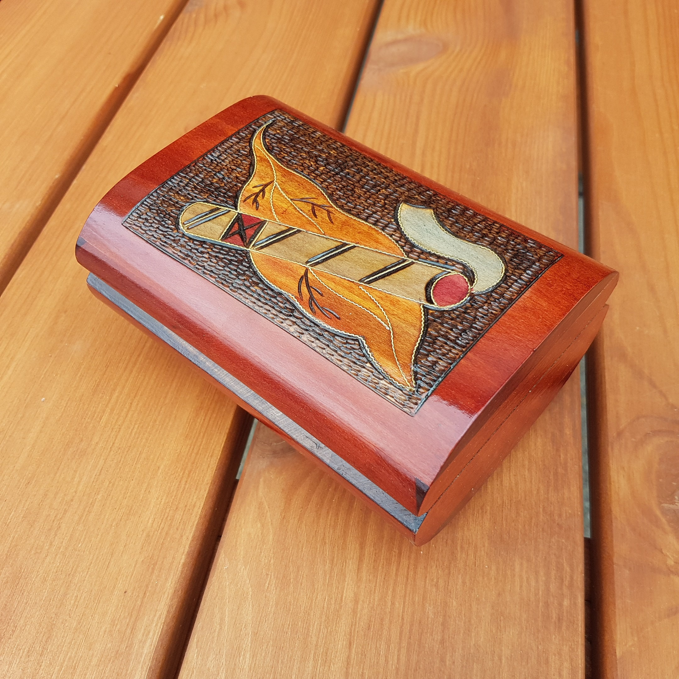 Wooden Box For Cigars Hand Decorated