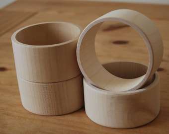 Set 4 Wooden Flat Bangles 4 cm high for decoupage