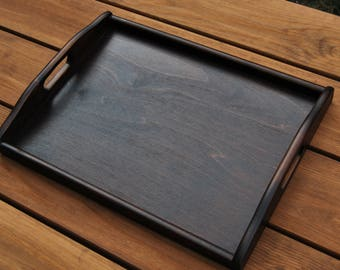 Wooden Serving Tray 40cmx30cmx5.5cm in Dark Brown Color