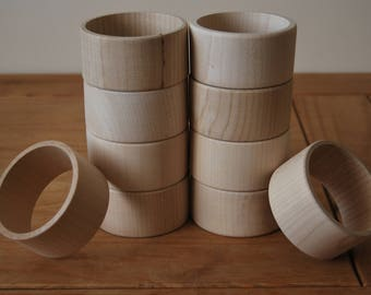 Set 10 Wooden Flat Bangles 4 cm high for decoupage