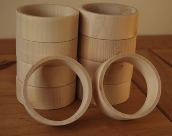 Set 10 Wooden Flat Bangles 3 cm high for decoupage