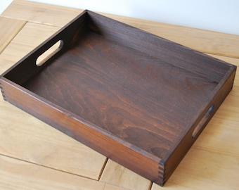 Wooden Serving Tray 40cmx30cmx6.5cm in Dark Brown Color
