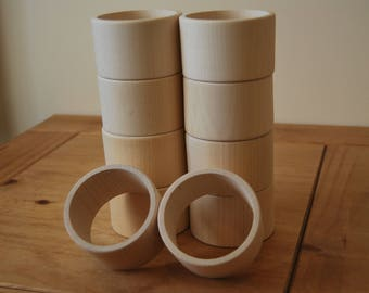 Set 10 Wooden Flat Bangles 5 cm high for decoupage
