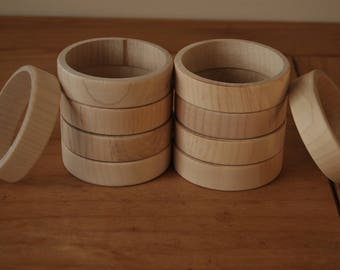 Set 10 Wooden Flat Bangles 2 cm high for decoupage