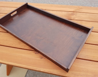 Fantastic Very Big Plain Wood-Wooden Serving Tray 75cm long in Brown Color